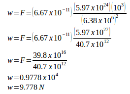 Gravitational Force Weight Problems And Solutions 2